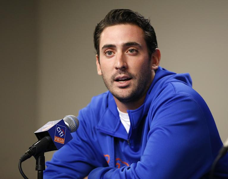 New York Mets pitcher Matt Harvey speaks to reporters before the Mets' baseball game against the San Francisco Giants, Tuesday, Sept. 17, 2013, in New York. Harvey said he will try to rehab his injured elbow without reconstructive surgery, a move the young ace hopes is going to keep him on the mound for the New York Mets next season. Harvey was examined Monday by Dr. James Andrews. (AP Photo/Kathy Willens)