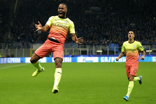 Sterling celebrates after giving City the lead (Photo by Giuseppe Cottini/NurPhoto via Getty Images)