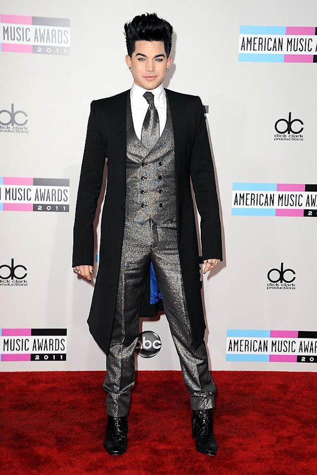 Singer Adam Lambert arrives at the 2011 American Music Awards held at the Nokia Theatre L.A. LIVE. (11/20/2011)