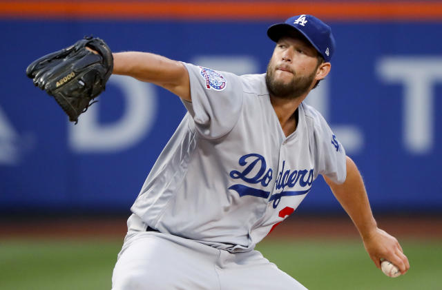 Los Angeles Dodgers pitcher Clayton Kershaw throws to a New York Mets batter during the second inning of a baseball game Saturday, June 23, 2018, in New York. (AP Photo/Julie Jacobson)