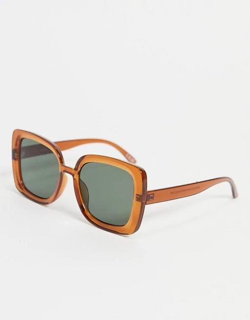 <p><span>ASOS Design Recycled Frame Oversize '70s Sunglasses in Crystal Brown</span> ($18)</p>