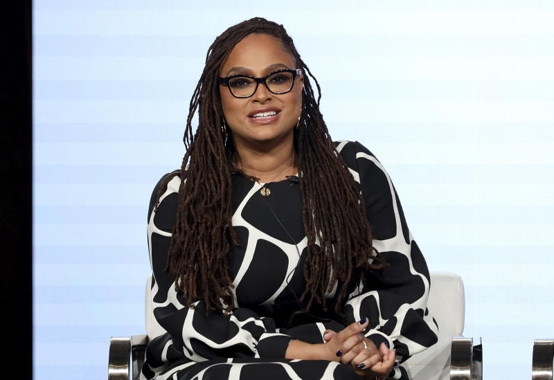 "FILE - In this Thursday, Jan. 16, 2020, file photo, Ava DuVernay speaks at the OWN: Oprah Winfrey Network's ""Cherish the Day"" series panel during the Discovery Network TCA 2020 Winter Press Tour in Pasadena, Calif. The series, airing at 10 p.m. EST Tuesday, follows a Los Angeles couple's relationship over eight episodes that span five years. Xosha Roquemore and Alano Miller star in the network's first anthology series, created by filmmaker and TV producer DuVernay. (Photo by Willy Sanjuan/Invision/AP)"