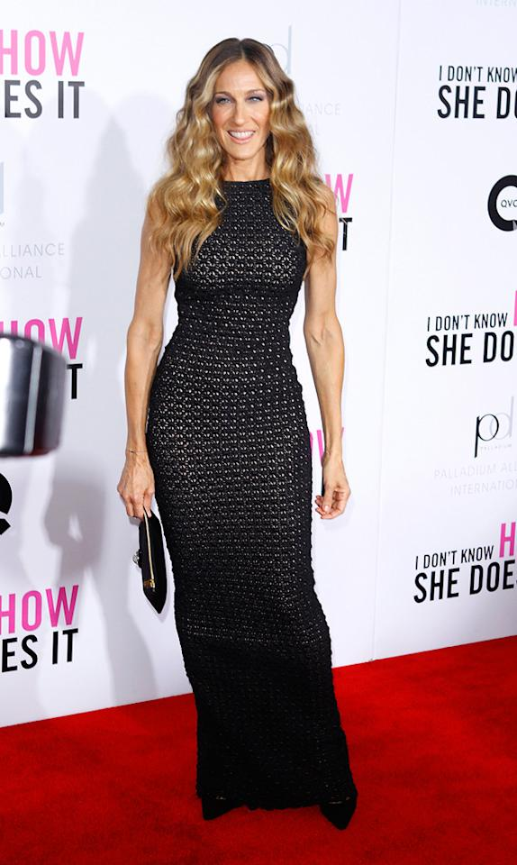 """Back in New York -- at the premiere of """"I Don't Know How She Does It"""" -- star Sarah Jessica Parker showed up in a super sexy crocheted maxi dress, courtesy of Antonio Berardi. Pointy pumps, a black clutch, gorgeously waved tresses, and a summery tan solidified SJP's stellar look. Donna Ward/<a href=""""http://www.gettyimages.com/"""" target=""""new"""">GettyImages.com</a> - September 12, 2011"""