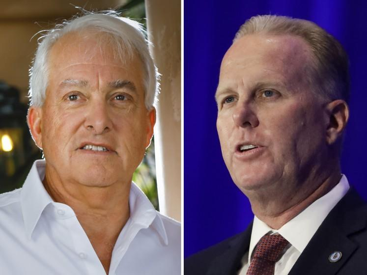 Composite photo of John Cox(R) and San Diego Mayor Kevin Faulconer(L) Photos by Howard Lipin/The San Diego Union-Tribune(left) and Chris Carlson/AP (right)