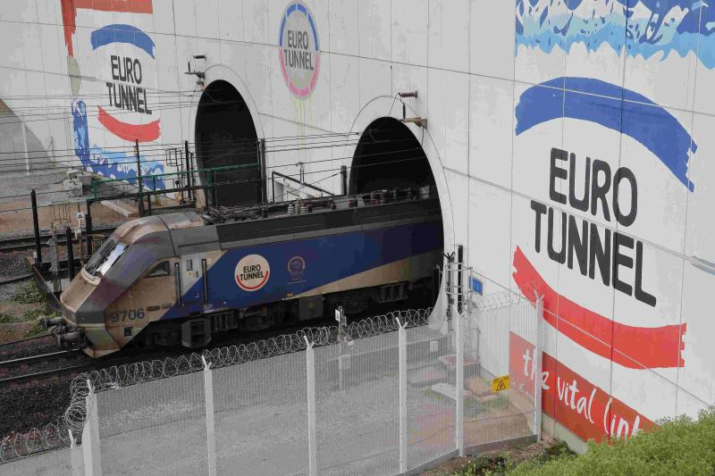 An Eurotunnel freight shuttle exists the Channel Tunnel in Coquelles, near Calais, northern France, October 20, 2015. Eurotunnel is expected to report Q3 results this week. REUTERS/Pascal Rossignol