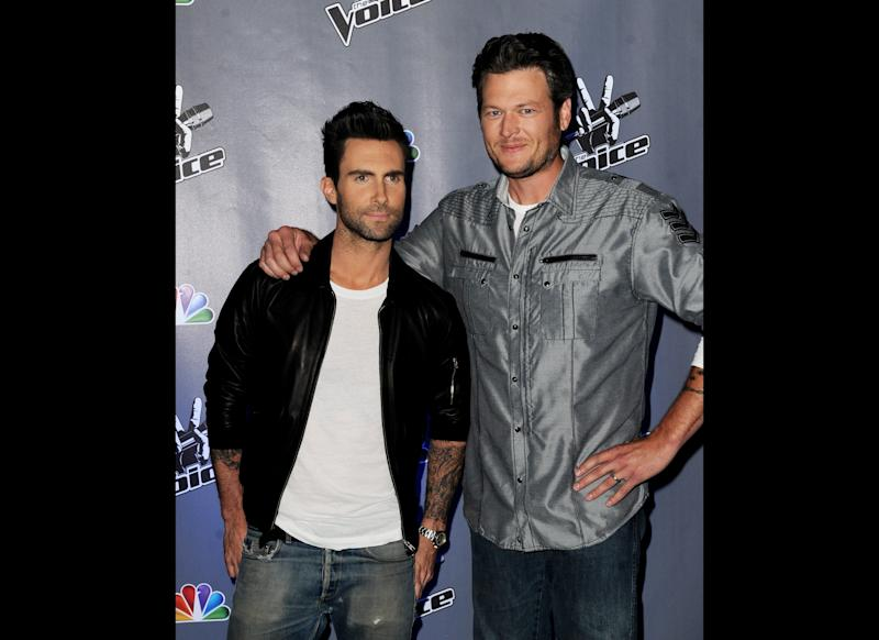 Singers Adam Levine (L) and Blake Shelton appear at a press junket for NBC's 'The Voice' at Sony Studios on October 28, 2011 in Culver City, California. (Getty)