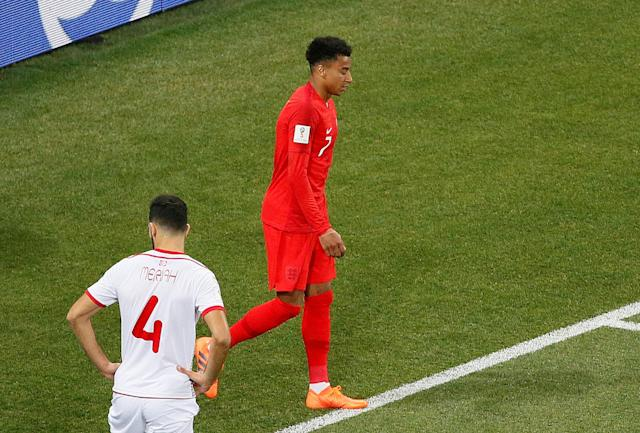 Soccer Football - World Cup - Group G - Tunisia vs England - Volgograd Arena, Volgograd, Russia - June 18, 2018 England's Jesse Lingard reacts after hitting the post REUTERS/Gleb Garanich