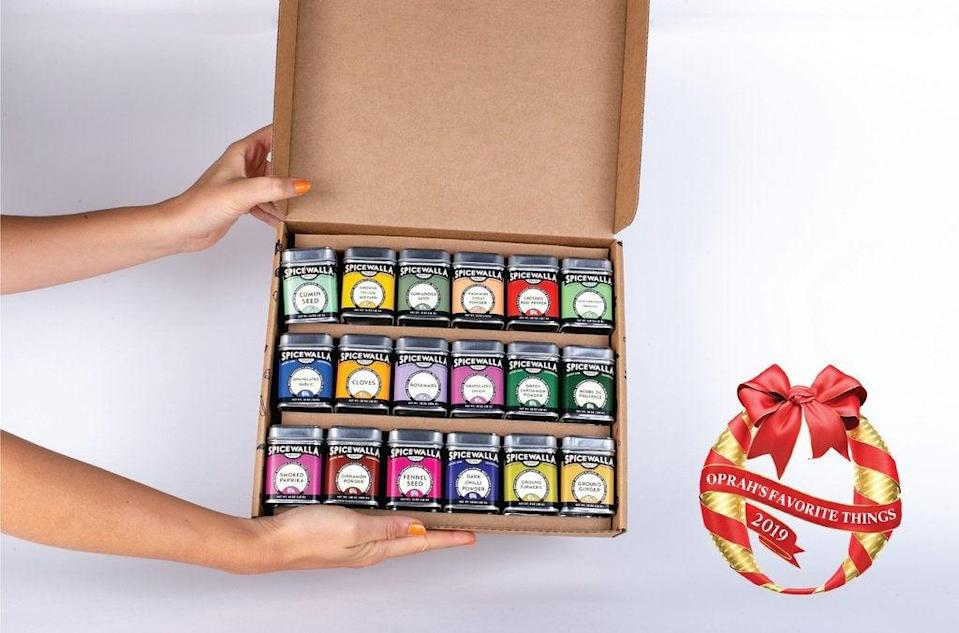 """<h2>18-Pack Kitchen Essentials Collection</h2><br>This tasty gift set includes all you could want in the kitchen — from cumin to crushed red pepper. <br><br><strong><em><a href=""""https://www.spicewallabrand.com/collections/home"""" rel=""""nofollow noopener"""" target=""""_blank"""" data-ylk=""""slk:Shop Spicewalla"""" class=""""link rapid-noclick-resp"""">Shop Spicewalla</a></em></strong><br><br><strong>Spicewalla</strong> 18 Pack Kitchen Essentials Collection, $, available at <a href=""""https://go.skimresources.com/?id=30283X879131&url=https%3A%2F%2Fwww.spicewallabrand.com%2Fcollections%2Fhome%2Fproducts%2F18-pack-kitchen-essentials-collection"""" rel=""""nofollow noopener"""" target=""""_blank"""" data-ylk=""""slk:Spicewalla"""" class=""""link rapid-noclick-resp"""">Spicewalla</a>"""