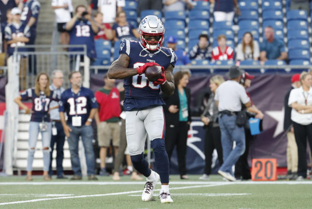 The Patriots released wide receiver Demaryius Thomas on Saturday, roughly eight months after he suffered an Achilles injury. (Fred Kfoury III/Getty Images)