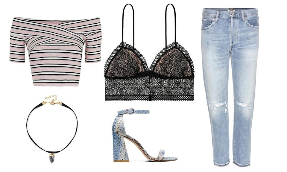 <p>Wear a black lace bralette over a printed tight-fitting top with a splash of color and, like Kendall, pair them with blue jeans and heels. A choker is optional, but with that neckline, it would look modern and chic.</p>