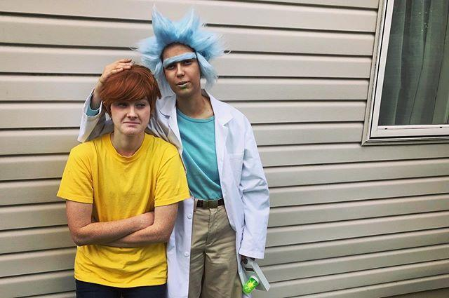 """<p>If you're going to dress up like characters from your favorite show (Ahem, <em>Rick and Morty</em>), complete Rick's look with a sweet blue wig.<strong><br></strong></p><p><strong>RELATED:</strong><a href=""""https://www.goodhousekeeping.com/holidays/halloween-ideas/g21969310/best-friend-halloween-costumes/"""" rel=""""nofollow noopener"""" target=""""_blank"""" data-ylk=""""slk:40 Unique Best Friend Halloween Costumes That Prove You're Quite The Dynamic Duo"""" class=""""link rapid-noclick-resp""""> 40 Unique Best Friend Halloween Costumes That Prove You're Quite The Dynamic Duo</a></p><p><a href=""""https://www.instagram.com/p/CF-yU3bDO9v/&hidecaption=true"""" rel=""""nofollow noopener"""" target=""""_blank"""" data-ylk=""""slk:See the original post on Instagram"""" class=""""link rapid-noclick-resp"""">See the original post on Instagram</a></p>"""