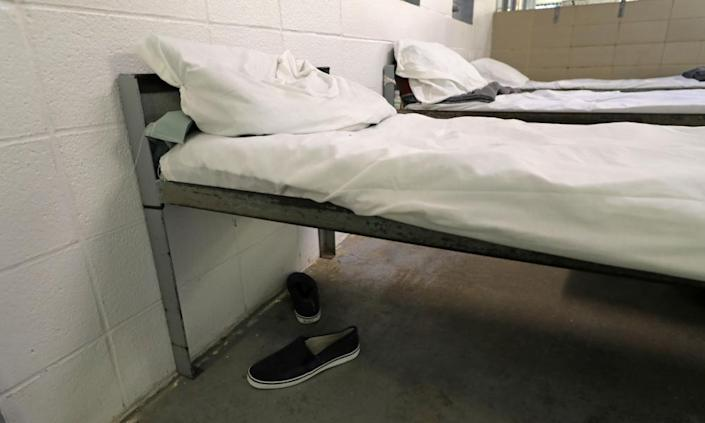 A bed at the Winn correctional center where some migrants have been isolated after exposure to coronavirus.