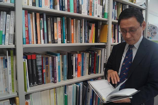 Tatsujiro Suzuki, the director of the Research Center for Nuclear Weapons Abolition at Nagasaki University, in his office. (Photo: Michael Walsh/Yahoo News)