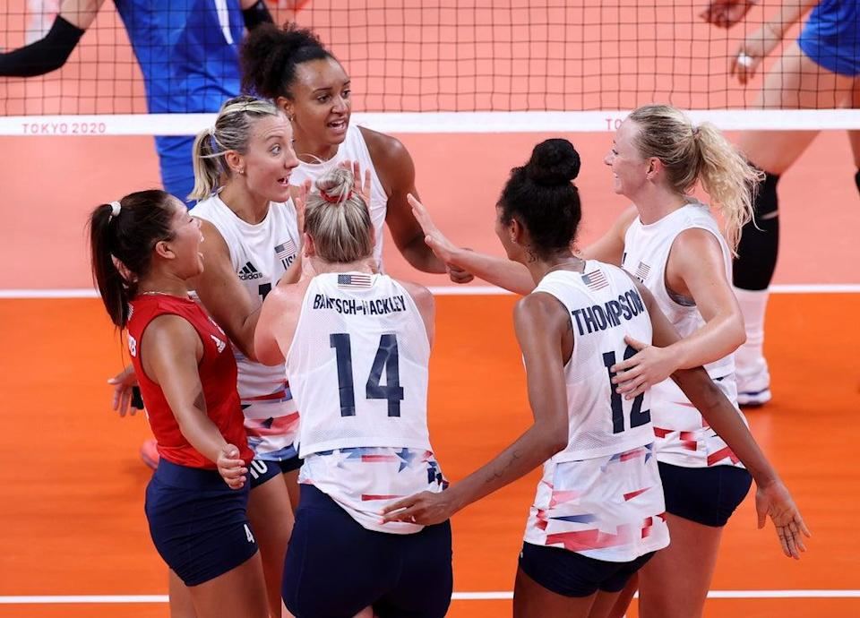 Team United States celebrates against Team China during the Women's Preliminary - Pool B volleyball on day four of the Tokyo 2020 Olympic Games at Ariake Arena on July 27, 2021 in Tokyo, Japan.  (Getty Images)