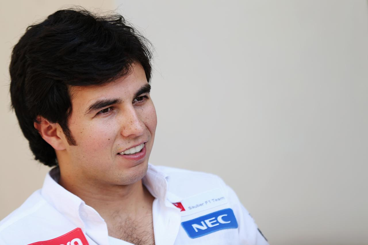 ABU DHABI, UNITED ARAB EMIRATES - NOVEMBER 01:  Sergio Perez of Mexico and Sauber F1 talks to the media during previews for the Abu Dhabi Formula One Grand Prix at the Yas Marina Circuit on November 1, 2012 in Abu Dhabi, United Arab Emirates.  (Photo by Mark Thompson/Getty Images)