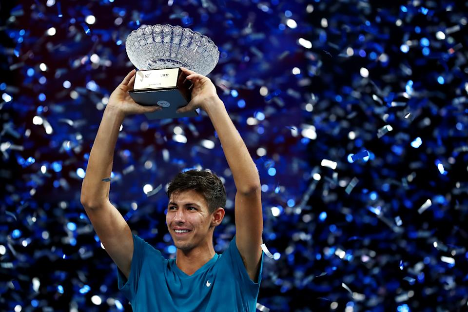 Alexei Popyrin of Australia celebrates winning the Singapore Tennis Open at the OCBC Arena. (PHOTO: Yong Teck Lim/Getty Images for Sport Singapore)
