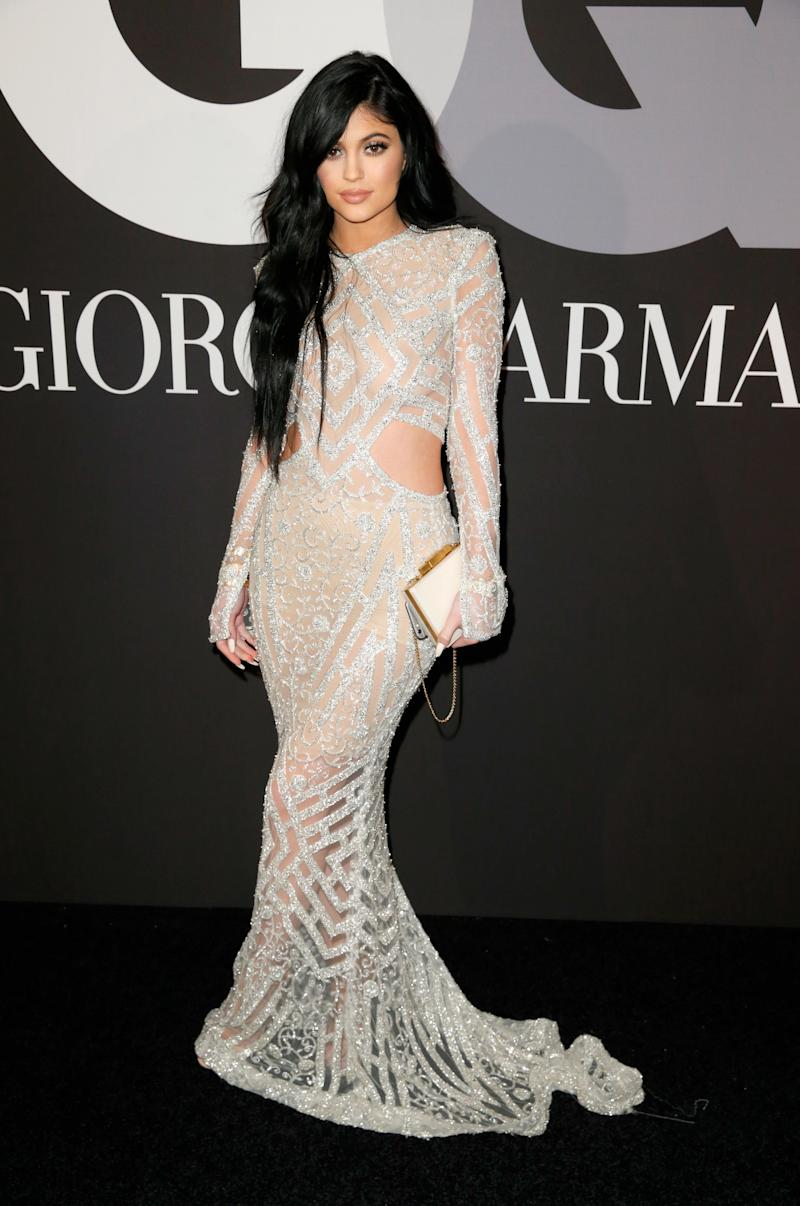 Kylie Jenner in Steven Khalil at the GQ Grammys afterparty in Hollywood, California, February 2015.