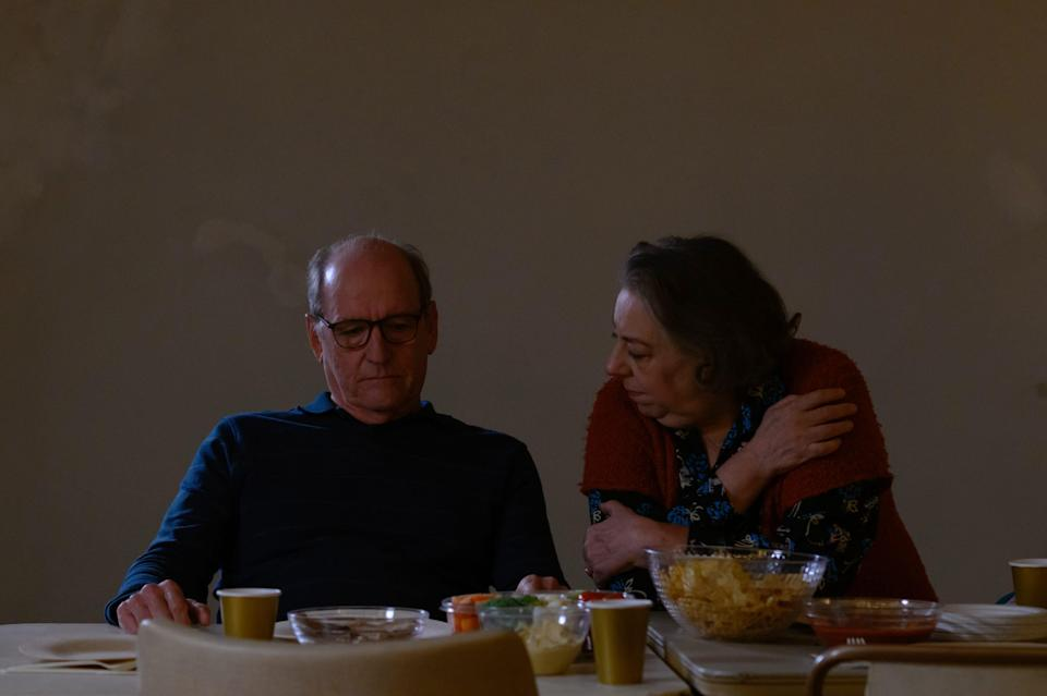 """Richard Jenkins, left, and Jayne Houdyshell play a troubled couple spending Thanksgiving with their daughters in """"The Humans."""""""