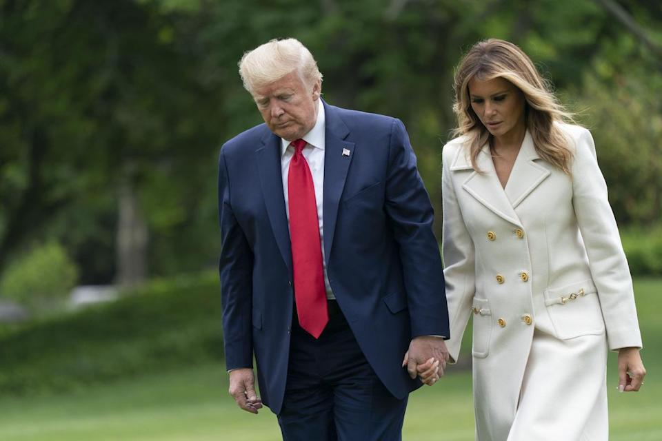 United States President Donald Trump and First lady Melania Trump return to the White House in Washington, DC, after attending a Memorial Day ceremony at Fort McHenry National Monument and Shrine in Baltimore, Maryland on Monday, May 25, 2020