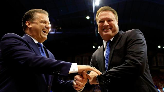 Kansas' Bill Self (R) scored a win over Michigan State on Tuesday. (AP)