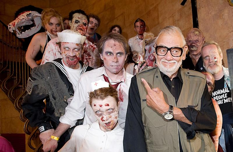 George A. Romero and friends at a New York screening of 'Survival of the Dead' in 2010 (Credit: WENN.com)