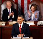 <p>Vice President Joseph Biden and Pelosi clap for President Barack Obama during his State of the Union address in January 2010. </p>