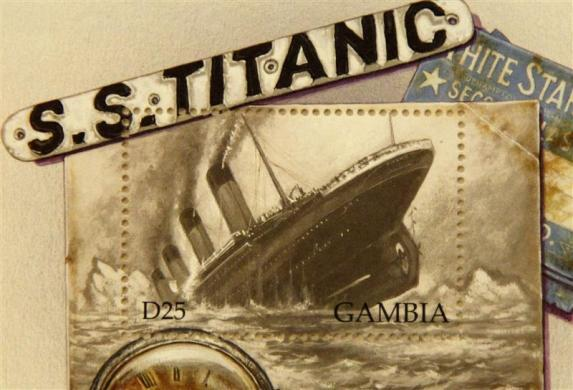 A commemorative Titanic stamp from Gambia, part of a collection of enthusiast Kenneth Mascarenhas, is seen on board the Titanic Memorial Cruise in the mid-Altantic Ocean April 12, 2012.