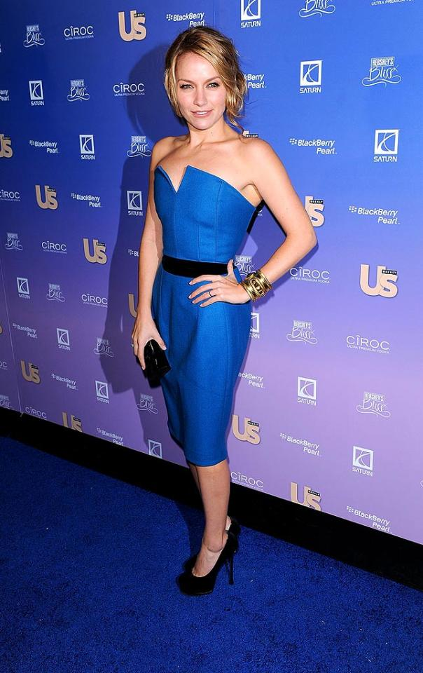 """""""Ugly Betty's"""" Becky Newton showed off her tiny physique in a bright blue frock and black heels. James Devaney/<a href=""""http://www.wireimage.com"""" target=""""new"""">WireImage.com</a> - October 21, 2008"""