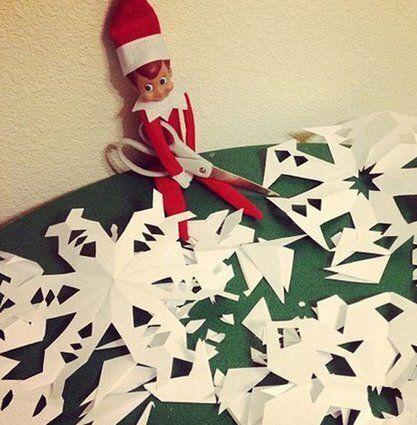 "<p>Help your elf cut up some tiny snowflakes. And maybe you can put hooks on them and hang them on the tree once you've put him away for the day.</p> <p>Source: <a href=""http://prettyprovidence.com/elf-on-the-shelf/"" target=""_blank"">Pretty Providence</a></p>"