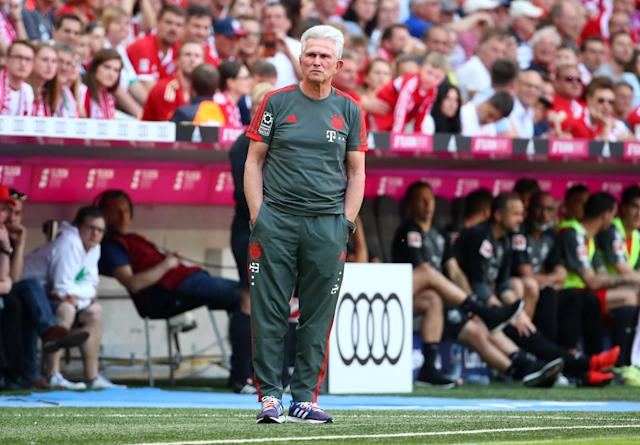 Soccer Football - Bundesliga - Bayern Munich v VfB Stuttgart - Allianz Arena, Munich, Germany - May 12, 2018 Bayern Munich coach Jupp Heynckes during the game REUTERS/Michael Dalder DFL RULES TO LIMIT THE ONLINE USAGE DURING MATCH TIME TO 15 PICTURES PER GAME. IMAGE SEQUENCES TO SIMULATE VIDEO IS NOT ALLOWED AT ANY TIME. FOR FURTHER QUERIES PLEASE CONTACT DFL DIRECTLY AT + 49 69 650050