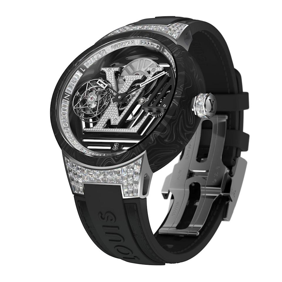 "<p>The Tambour Curve Flying Tourbillon is futuristic in both design and engineering. Its case is made of a carbon-fiber composite which takes on an artistic pattern during the heating process, and decorated with 354 diamonds. It takes more than 120 hours to create the complicated flying tourbillon movement, and its achievements have been recognized with the prestigious Geneva Seal. <em>($322,000)</em></p><p><a class=""link rapid-noclick-resp"" href=""http://louisvuitton.com"" rel=""nofollow noopener"" target=""_blank"" data-ylk=""slk:Learn More"">Learn More</a></p>"