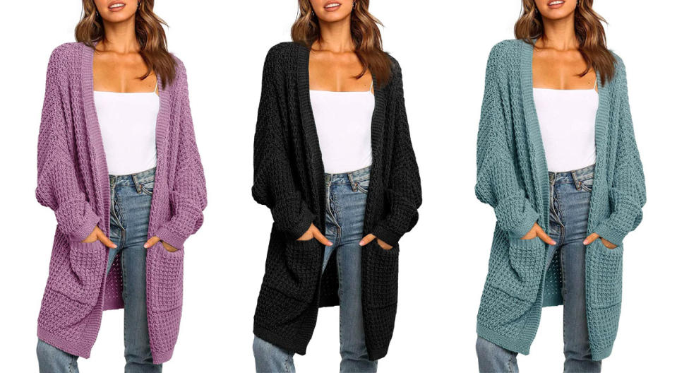 UEU Oversized Batwing Sleeve Open Front Chunky Knit Cardigan (Photo: Amazon)