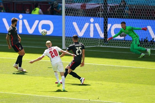 England's Phil Foden hits a post