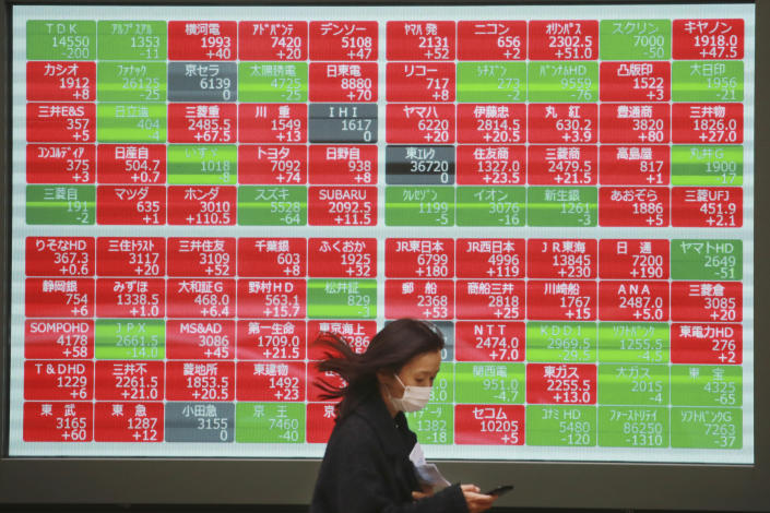 A woman walks by an electronic stock board of a securities firm in Tokyo, Wednesday, Dec. 2, 2020. Asian markets are mixed after the U.S. benchmark S&P 500 set another record. (AP Photo/Koji Sasahara)