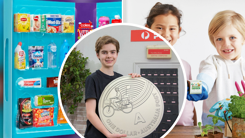 Pictured: Coles Little Shop, Woolworths Discovery Garden campaigns, Australia Post collectable coin campaign. Images: Woolworths, Coles, Australia Post