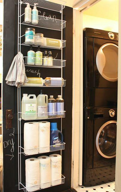 """<p>Really, every door in your house could use a rack like this. Here, one clever blogger uses the lightweight wire shelves for laundry and cleaning necessities. </p><p><a href=""""http://www.mysweetsavannahblog.com/2012/04/laundry-room-organization.html"""" rel=""""nofollow noopener"""" target=""""_blank"""" data-ylk=""""slk:See more at My Sweet Savannah »"""" class=""""link rapid-noclick-resp""""><em>See more at My Sweet Savannah »</em></a></p>"""