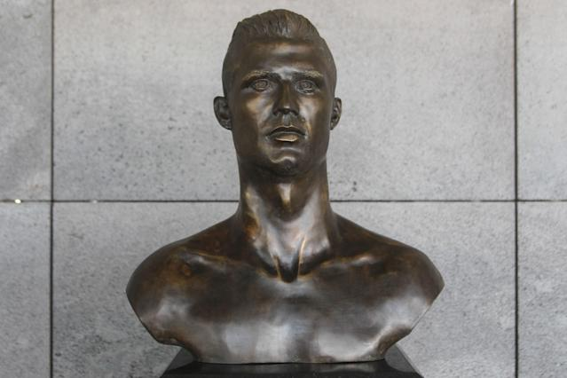 The new Cristiano Ronaldo bust outside his airport in Portugal.