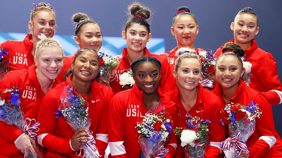 Pictured here, USA's female artistic gymnastics team for the Tokyo Games. Pic: Getty