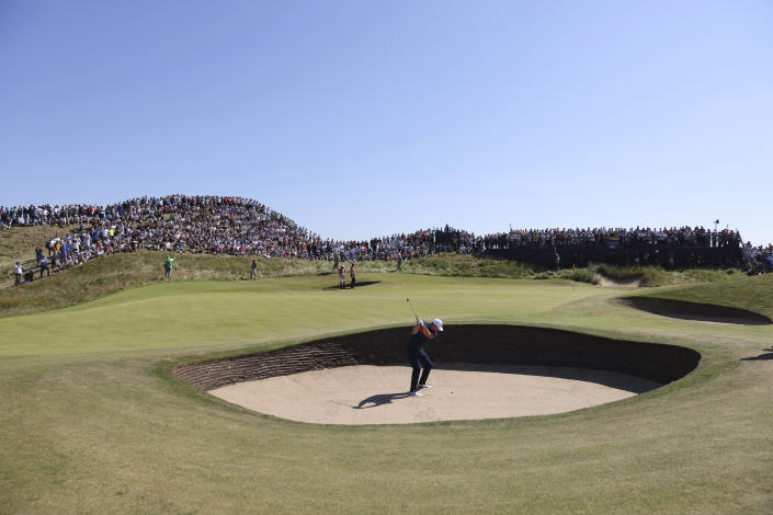United States' Jordan Spieth plays out of a bunker on the 6th hole during the final round of the British Open Golf Championship at Royal St George's golf course Sandwich, England, Sunday, July 18, 2021. (AP Photo/Ian Walton)