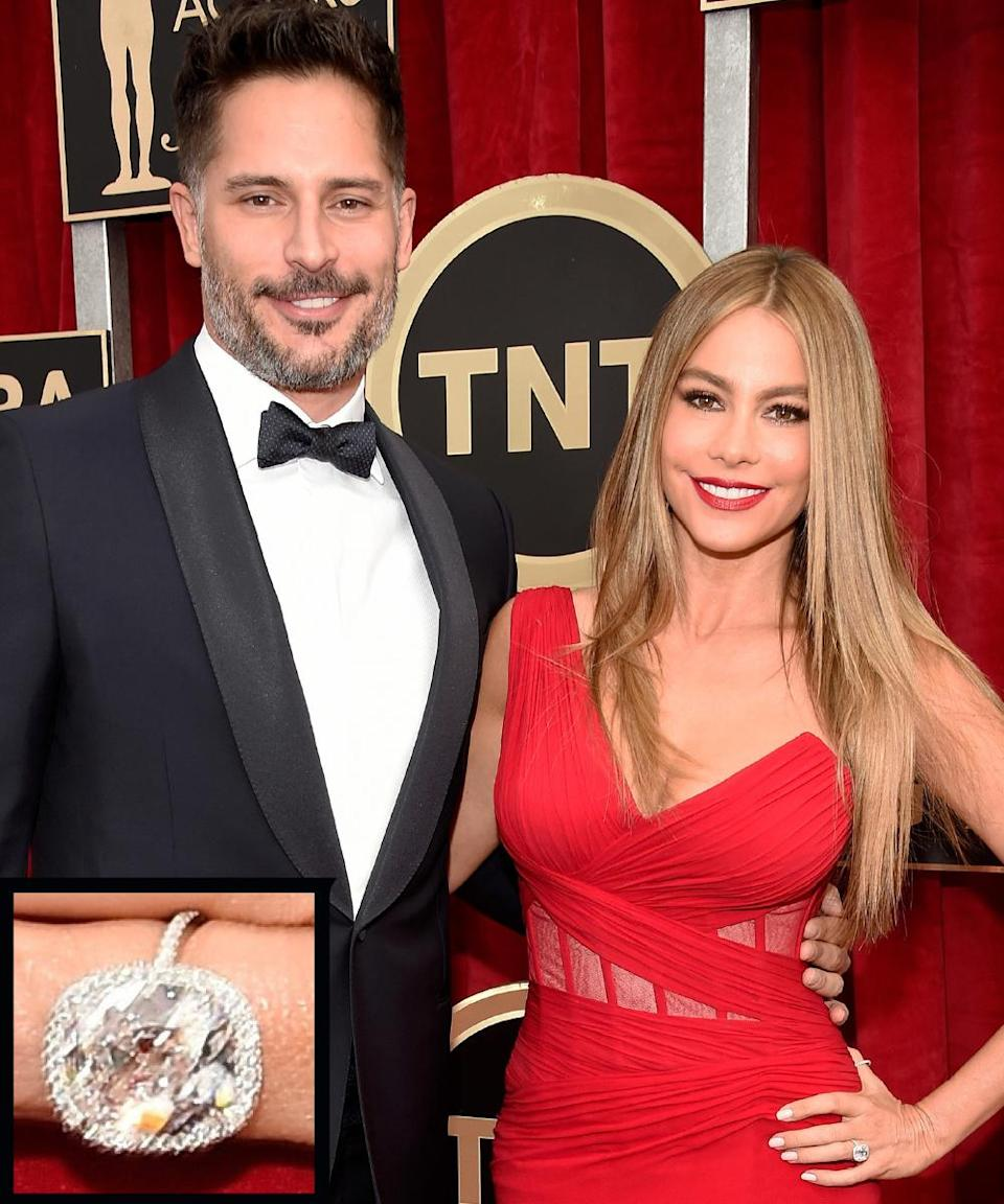 """<p>Joe Manganiello proposed to Sofía Vergara on Christmas Day in 2014 with a large, oval diamond sparkler. The two <a rel=""""nofollow noopener"""" href=""""http://www.instyle.com/news/sofia-vergara-joe-manganiello-marry-palm-beach-florida"""" target=""""_blank"""" data-ylk=""""slk:wed in November 2015"""" class=""""link rapid-noclick-resp"""">wed in November 2015</a>.</p>"""