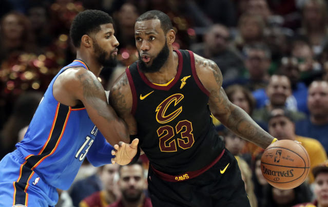 "<a class=""link rapid-noclick-resp"" href=""/nba/players/3704/"" data-ylk=""slk:LeBron James"">LeBron James</a> would reportedly rather not have to face <a class=""link rapid-noclick-resp"" href=""/nba/players/4725/"" data-ylk=""slk:Paul George"">Paul George</a>. (AP)"