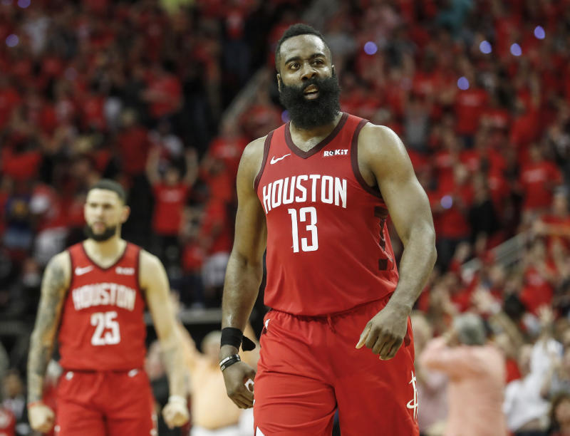 HOUSTON, TX - MAY 04: James Harden #13 of the Houston Rockets reacts after a three point basket in overtime during Game Three of the Second Round of the 2019 NBA Western Conference Playoffs against the Golden State Warriors at Toyota Center on May 4, 2019 in Houston, Texas. NOTE TO USER: User expressly acknowledges and agrees that, by downloading and or using this photograph, User is consenting to the terms and conditions of the Getty Images License Agreement. (Photo by Tim Warner/Getty Images)