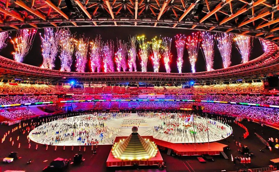 <p>Fireworks light up the stadium during the Tokyo Olympics opening ceremony.</p>