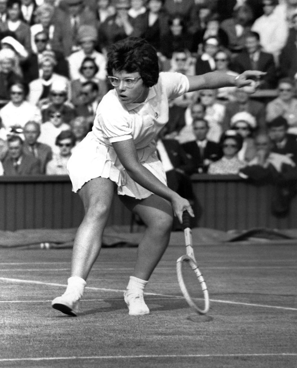 Billie Jean King plays former champion Maria Bueno of Brazil during the women's singles quarter finals match at Wimbledon in 1963.