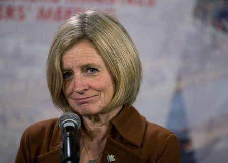 FILE PHOTO: Alberta Premier Rachel Notley speaks to the press following the First Ministers' Meeting in Montreal, Quebec, Canada, Dec. 7, 2018. REUTERS/Christinne Muschi/File Photo