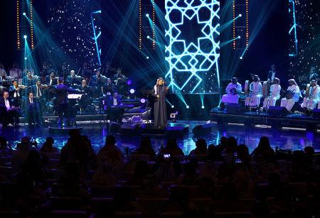 FILE PHOTO: Saudi Arabian singer Rashed Al-Majed peforms during a concert in Riyadh, Saudi Arabia, March 9, 2017. REUTERS/Faisal Al Nasser/File Photo