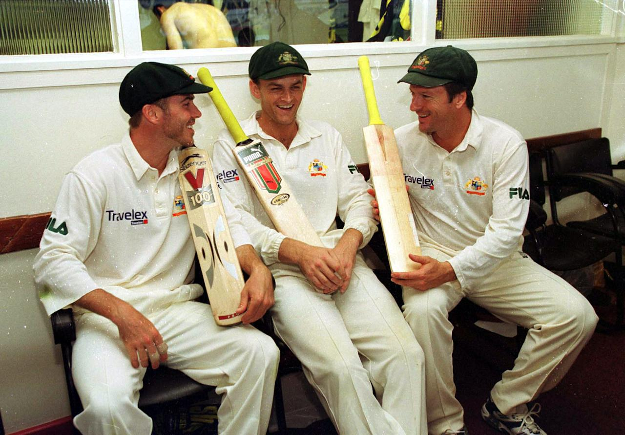 7 Jul 2001:  L-R Damien Martyn, Adam Gilchrist and Steve Waugh of Australia celebrates their 100's in the dressing room after the third day of the England v Australia first test match at Edgbaston, Birmingham. Mandatory Credit: Hamish Blair/ALLSPORT