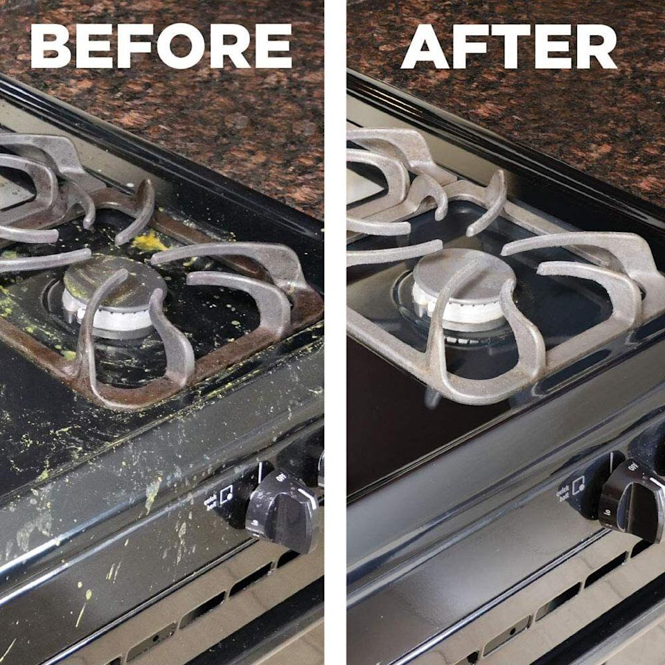 """It'll cut through grime and grease and eliminate any evidence that your roommates are total slobs. Now I'm just projecting.<br /><br />This stuff is THE TRUTH. My roommate is the best, but let's just say wiping down the stove after cooking is not one of her favorite activities. I'm not particularly fond of doing the dishes, so I guess we're even. Anyway, I spray this on a few times a week, let it sit for about five minutes, then wipe with a cloth. It removes EVERYTHING. Like, every little spot of caked-on grease and burned crumbs come off with just one wipe.<br /><br /><strong>Get a two-pack from Amazon for<a href=""""https://amzn.to/39XZEVg"""" target=""""_blank"""" rel=""""nofollow noopener noreferrer"""" data-skimlinks-tracking=""""5892474"""" data-vars-affiliate=""""Amazon"""" data-vars-asin=""""B06ZZ6BTNT"""" data-vars-href=""""https://www.amazon.com/dp/B06ZZ6BTNT?tag=bfdaniel-20&ascsubtag=5892474%2C7%2C33%2Cmobile_web%2C0%2C0%2C16507690"""" data-vars-keywords=""""cleaning"""" data-vars-link-id=""""16507690"""" data-vars-price="""""""" data-vars-product-id=""""18426139"""" data-vars-product-img=""""https://m.media-amazon.com/images/I/51uFEHGs0BL.jpg"""" data-vars-product-title=""""Weiman Gas Range Cook Top Cleaner and Degreaser - 12 Ounce 2 Pack - Packaging May Vary"""" data-vars-retailers=""""Amazon"""">$22.99</a>.</strong>"""