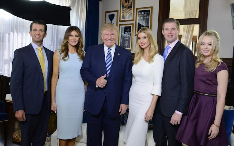 Donald Jr, Melania, Donald, Ivanka, Eric and Tiffany Trump [left to right] are all expected to attend the UK state visit - Disney ABC Television Group