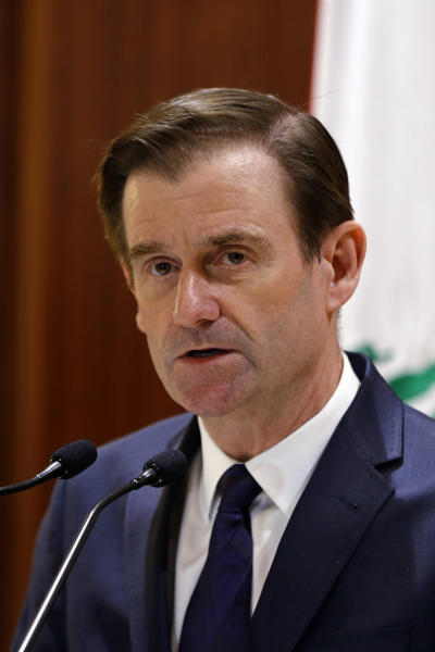 "U.S. Undersecretary of State for Political Affairs David Hale delivers a statement after meeting with Lebanese Prime Minister-designate Saad Hariri, in Beirut, Lebanon, Monday, Jan. 14, 2019. Hale said Monday that the U.S. will step up efforts to counter Iran's ""dangerous activities"" around the region including the financing and activities of proxy organizations such as Lebanon's Hezbollah. (AP Photo/Bilal Hussein)"